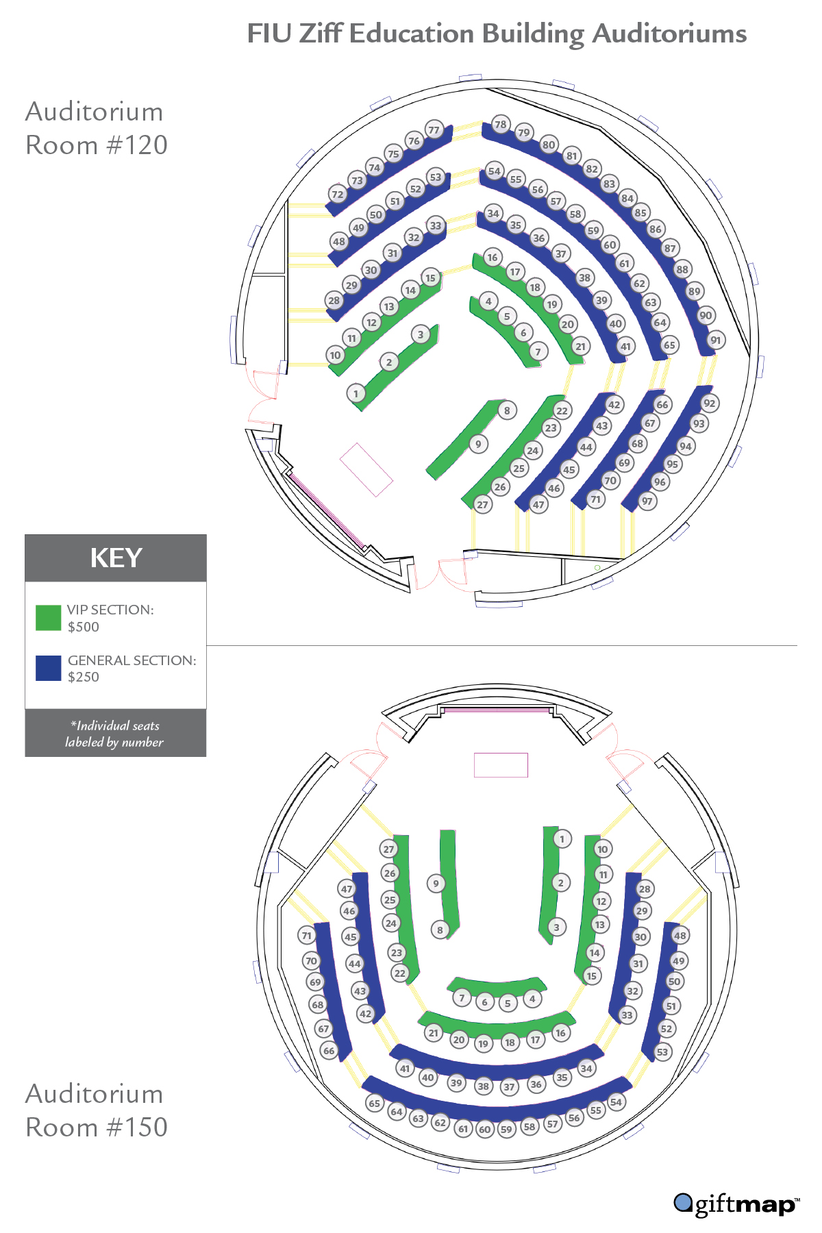 Map of seating choices for Take a Seat campaign